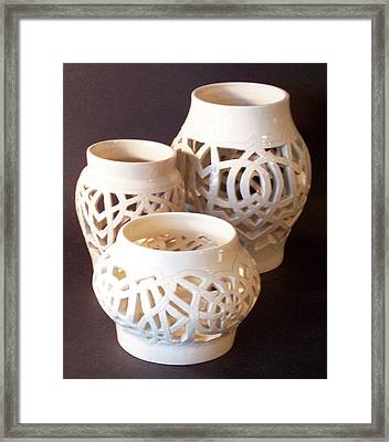 Three Interlaced Design Wheel Thrown Pots Framed Print