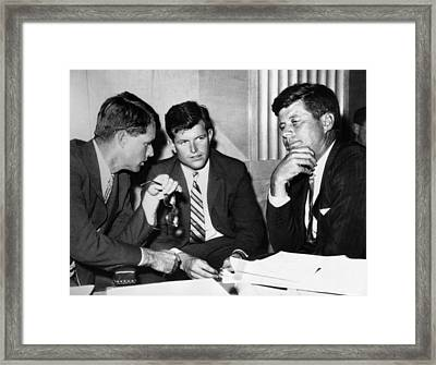 Three Kennedy Brothers At Rackets Framed Print by Everett