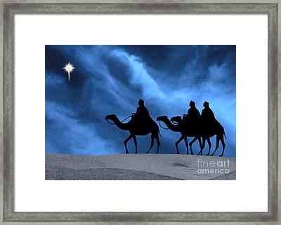 Three Kings Travel By The Star Of Bethlehem - Midnight Framed Print by Gary Avey