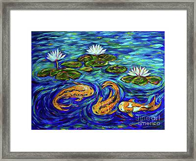 Three Koi And Lilies Framed Print
