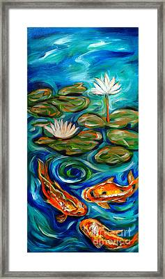 Framed Print featuring the painting Three Koi by Linda Olsen