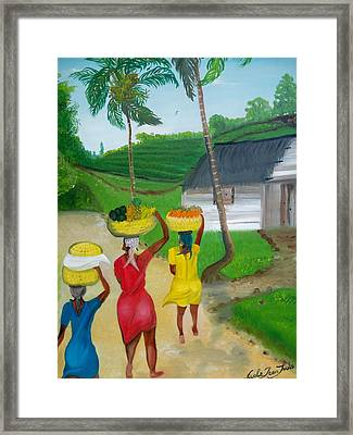 Framed Print featuring the painting Three Ladies Going To The Marketplace by Nicole Jean-louis