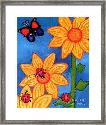 Three Ladybugs And Butterfly Framed Print by Genevieve Esson