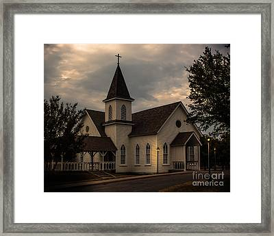 Three Lamps At Church Framed Print by Robert Frederick