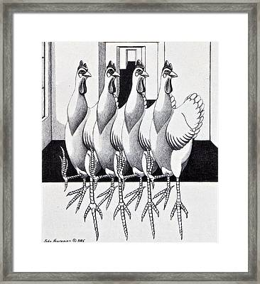 Three Legged Dancing Chickens Framed Print by John Houseman