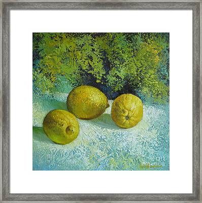 Framed Print featuring the painting Three Lemons by Elena Oleniuc