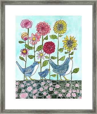 Three Little Birds Flowers Framed Print