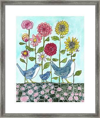 Three Little Birds Flowers Framed Print by Blenda Studio