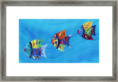 Framed Print featuring the painting Three Little Fishy's by Jamie Frier