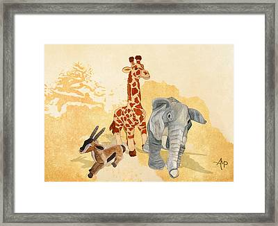 Three Little Friends Framed Print by Angeles M Pomata