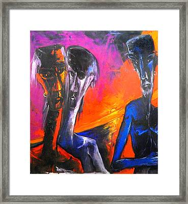 Three Men Before A Setting Sun Framed Print