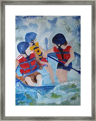 Framed Print featuring the painting Three Men In A Tube by Sandy McIntire