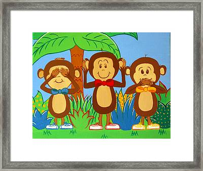 Three Monkeys No Evil Framed Print