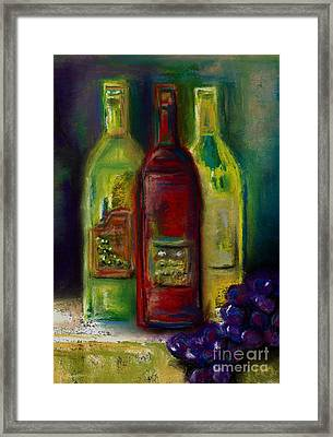 Three More Bottles Of Wine Framed Print by Frances Marino