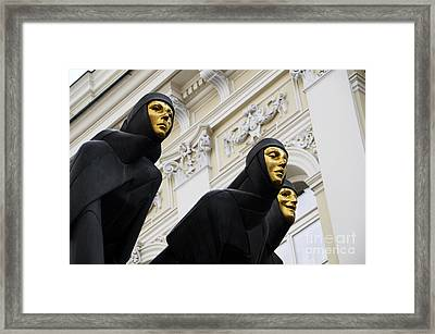Three Muses On The Lithuanian National Dramatic Theatre In Vilnius Framed Print by RicardMN Photography