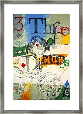 Framed Print featuring the painting Three Of Diamonds 31-52 by Cliff Spohn