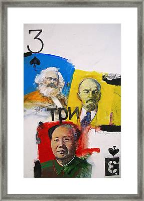 Framed Print featuring the painting Three Of Spades 43-52 by Cliff Spohn