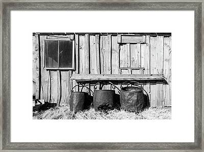 Three Old Buckets Framed Print