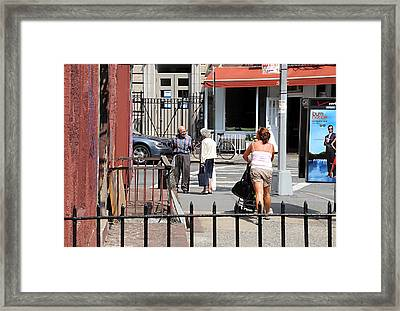 Three On The Street Framed Print by JoAnn Lense