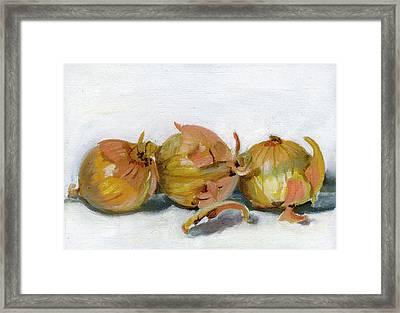 Three Onions Framed Print by Sarah Lynch