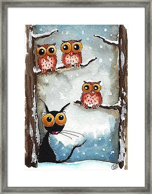Three Owls And A Cat Framed Print