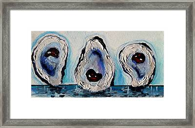 Three Oysters Framed Print by Terry J Marks Sr