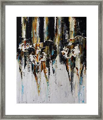 Three Pack In The Snow Framed Print
