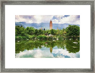 Framed Print featuring the photograph Three Pagodas by Wade Aiken