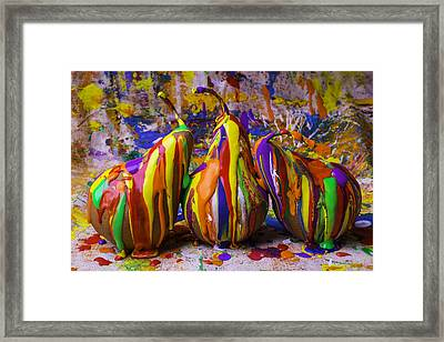 Three Painted Pears Framed Print