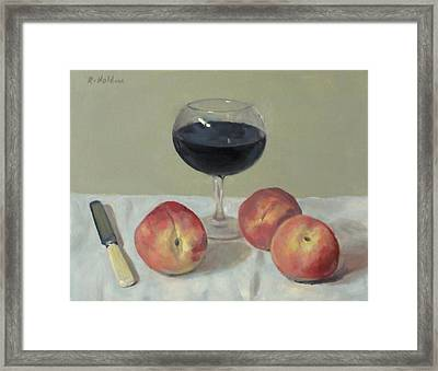 Three Peaches, Wine And Knife Framed Print