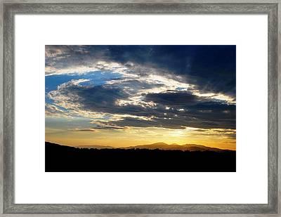 Three Peak Sunset Swirl Skyscape Framed Print