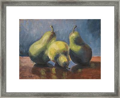 Three Pears Framed Print by Sarah Parks