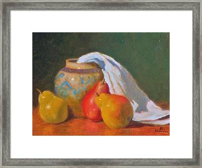 Three Pears With Persian Vase Framed Print by David Olander