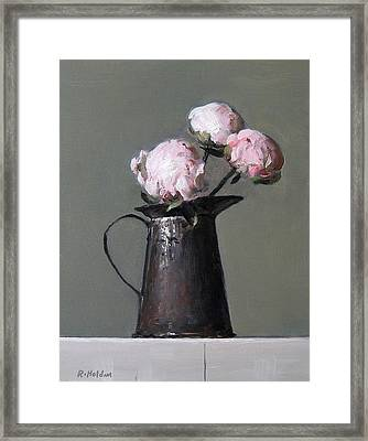 Three Peony Buds In Old Tin Can Framed Print