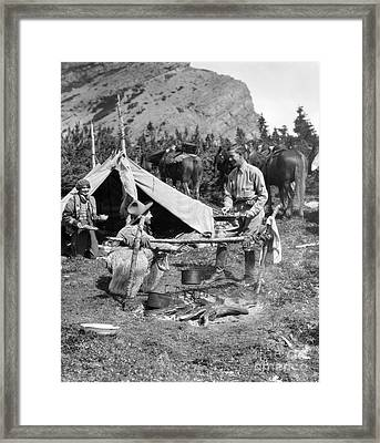 Three People Camping, C.1920-30s Framed Print