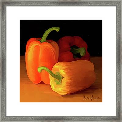 Three Peppers 01 Framed Print by Wally Hampton