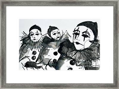 Three Pierrots - Venice Carnival Framed Print by Mona Edulesco