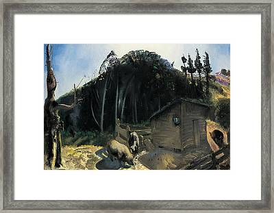 Three Pigs And A Mountain Framed Print by George Wesley Bellows
