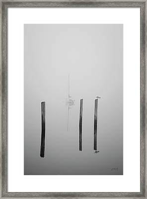 Three Pilings And Sailboat Framed Print