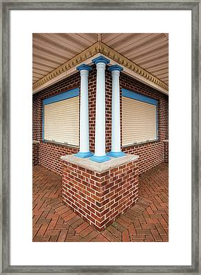 Framed Print featuring the photograph Three Pillars At The Refreshment Stand by Gary Slawsky