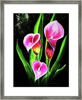 Framed Print featuring the painting Three Pink Calla Lilies. by Patricia L Davidson