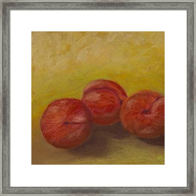 Three Plums Framed Print by Cheryl Albert