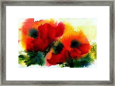 Three Poppies Framed Print