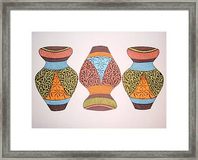 Framed Print featuring the drawing Three Pots by Beth Akerman