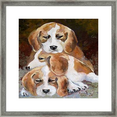 Three Puppies Framed Print by Audie Yenter