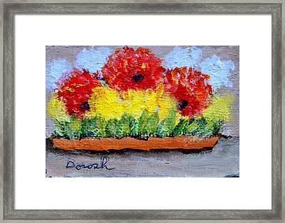Three Red Flowers Framed Print