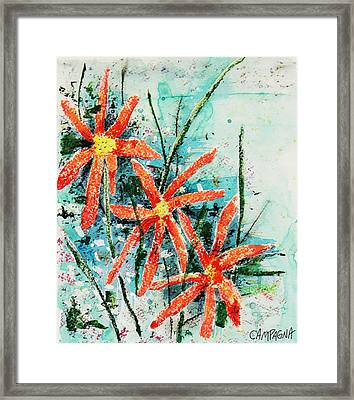 Three Red Flowers Framed Print