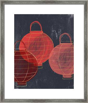 Three Red Lanterns- Art By Linda Woods Framed Print