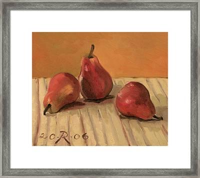 Three Red Pears Framed Print by Raimonda Jatkeviciute-Kasparaviciene