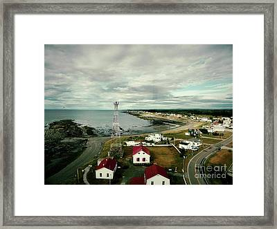 Framed Print featuring the photograph Three Red Roofs by Aimelle